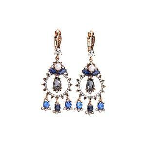 Blue Crystal Flower Vintage Dangle & Drop Earrings